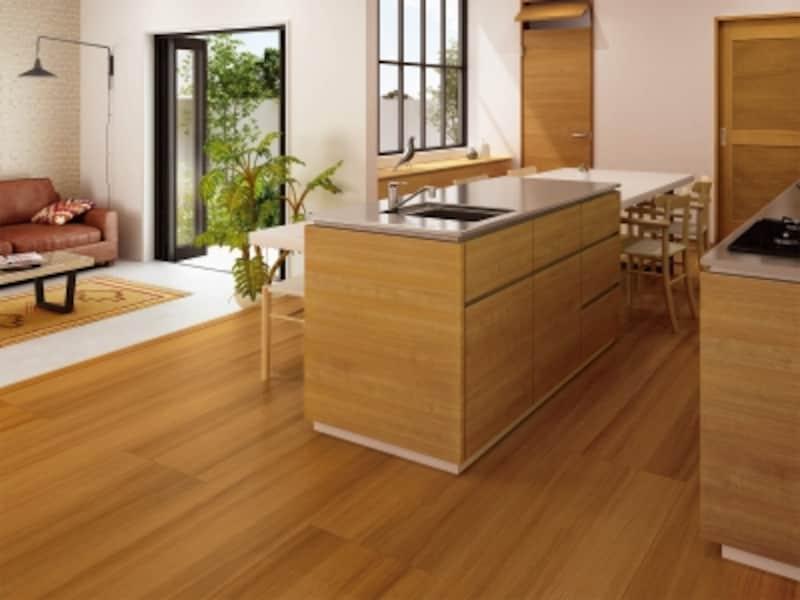 キッチン特有の汚れが拭きとりやすく、お掃除の手間を軽減。凹みにくいのも特長。[キッチン専用フローリングundefinedキッチンケア]DAIKENundefinedhttps://www.daiken.jp/