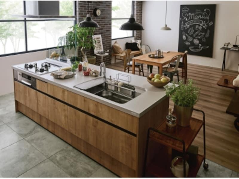 ダイニングやリビングにつながるオープンなキッチンの床材は、インテリア性にも配慮して選びたい。[アレスタ]undefinedLIXILundefinedhttp://www.lixil.co.jp/undefined