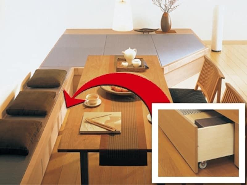 収納ボックスがついた置き畳を取り付けるリフォームをすれば、マンションでも床下収納は可能(畳が丘/パナソニック)