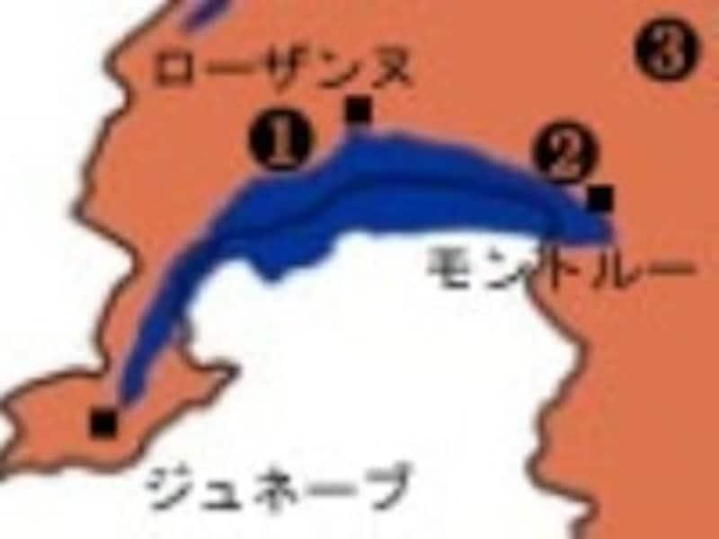 レマン湖地方地図