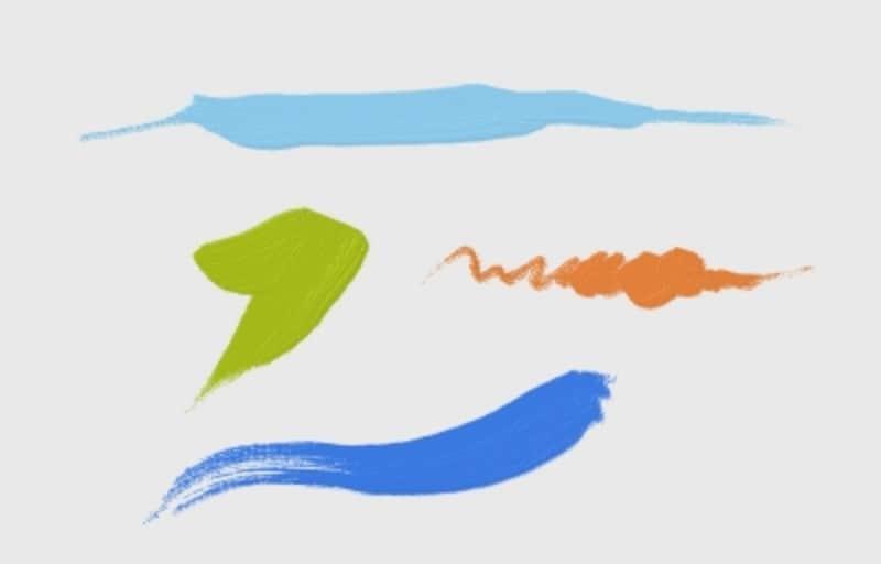 MicrosoftのWindows8用ペイントアプリ「FreshPaint」で筆圧を使った描画例。筆圧の強弱による入りと抜きや、かすれなども表現できます。