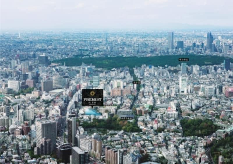 現地周辺の空撮※平成24年8月撮影したものに一部CG処理を施したもので実際とは異なります