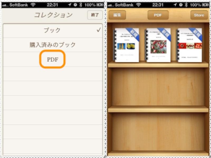 (左)[PDF]をクリック。(右)コピーしたPDFファイルが表示されます