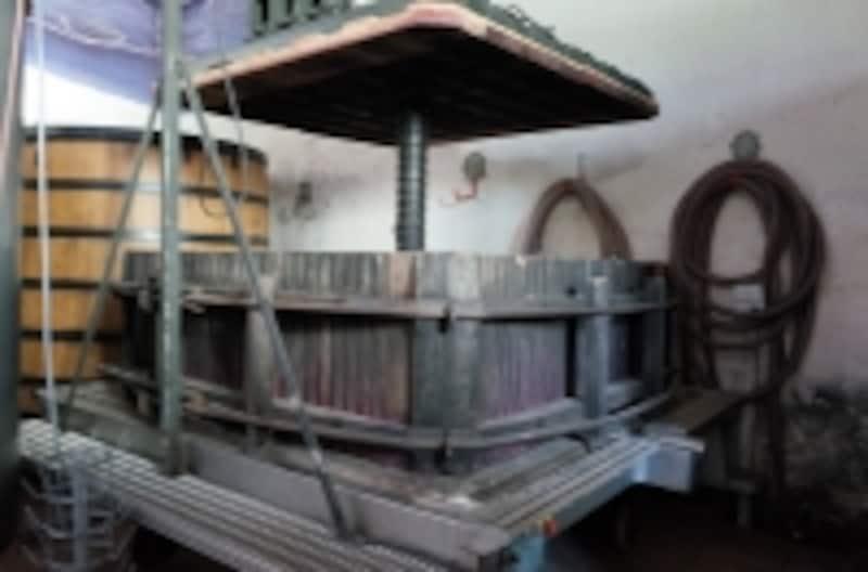今では珍しい木製の垂直プレス機ですが、ボジョレーでまだ現役のものです