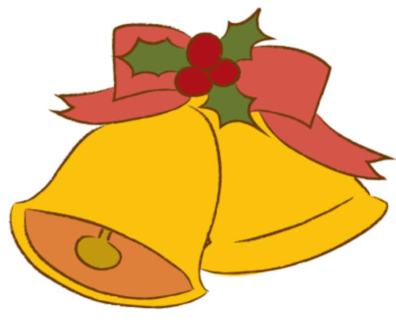 クリスマス イラスト ベル リボン かわいい カラー