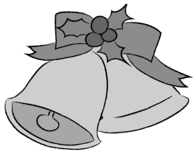 クリスマス イラスト ベル リボン かわいい 白黒