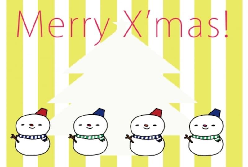 グリーティングカード 雪だるま クリスマス イラスト カラー かわいい