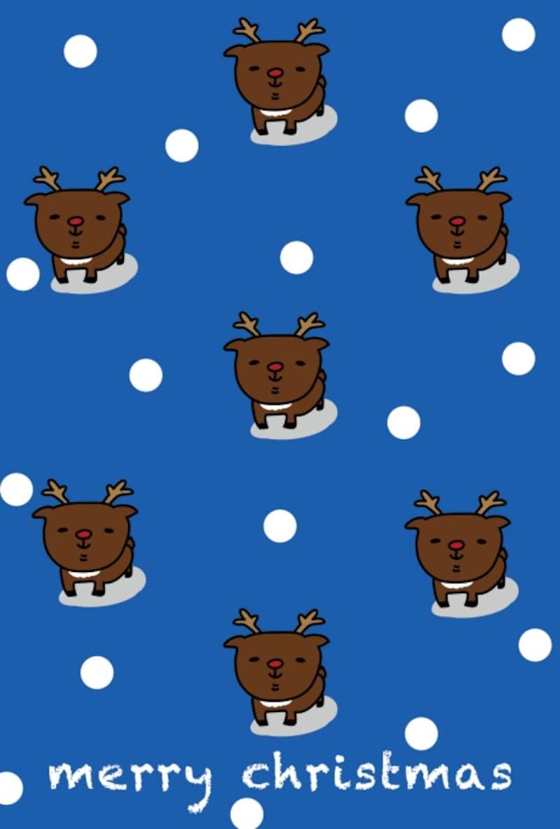 グリーティングカード トナカイ クリスマス イラスト カラー かわいい