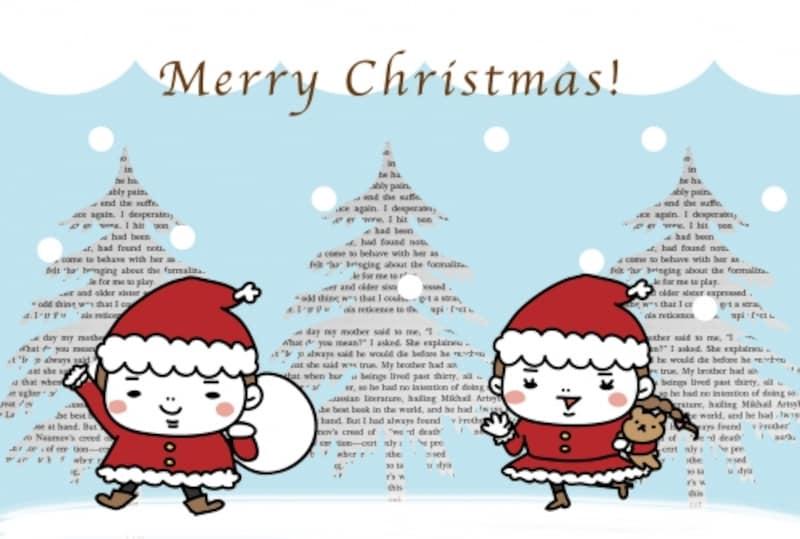 【カード】ホワイトクリスマスで雰囲気満点のカードです。
