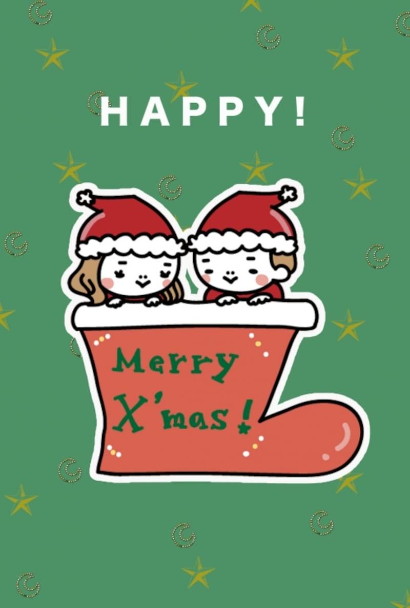 【カード】ビビッドなクリスマスカラーが印象的なカードです。