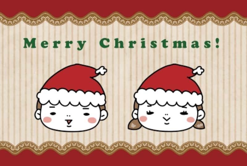 【カード】子どもサンタがインパクト大の可愛いカードです。