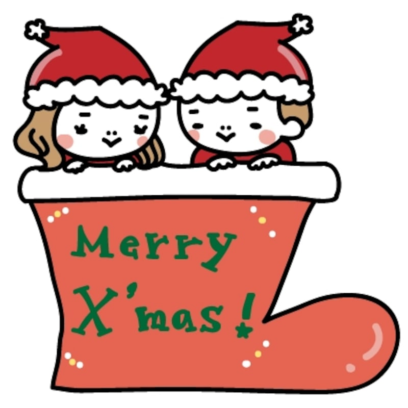 女の子と男の子 クリスマス イラスト カラー かわいい