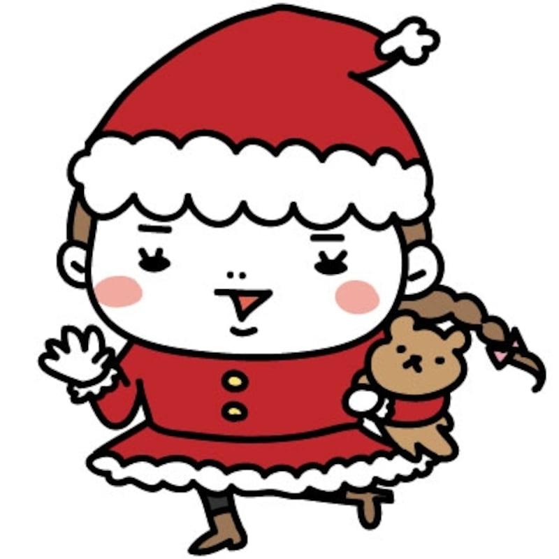 【カラー】サンタクロースに扮して元気な女の子です。