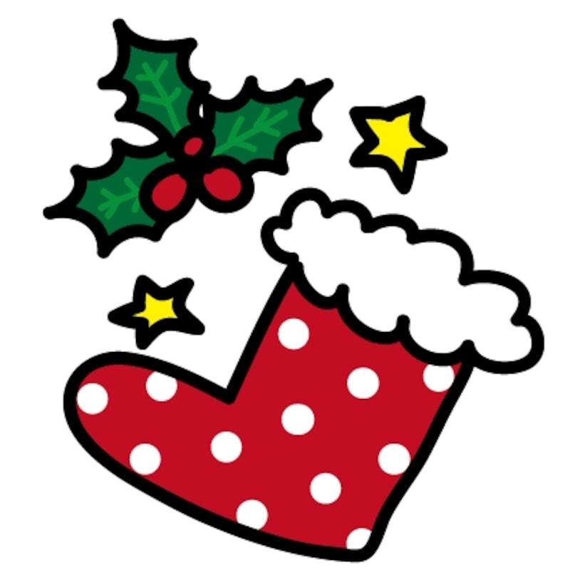 赤い靴下とヒイラギ クリスマス イラスト カラー かわいい