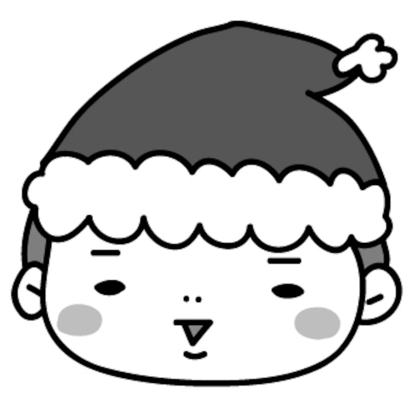 【モノクロ】サンタクロースに扮した男の子です。