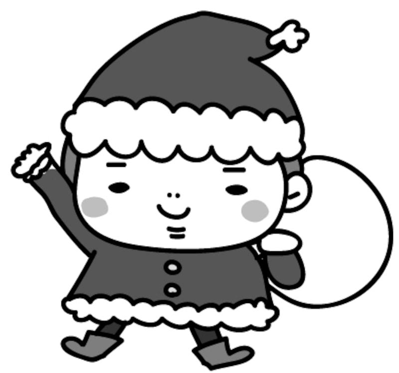 【モノクロ】サンタクロースに扮して沢山のプレゼントを持つ男の子です。