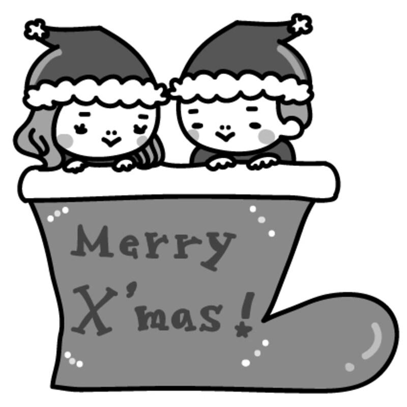 女の子と男の子 クリスマス イラスト 白黒 かわいい