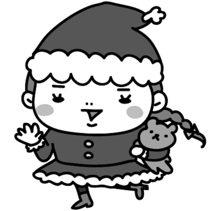 【モノクロ】サンタクロースに扮してご機嫌な女の子です。