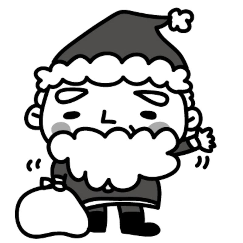 サンタ クリスマス イラスト 白黒 かわいい