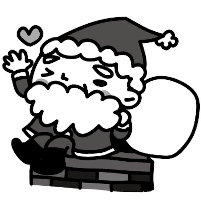 【モノクロ】煙突の上に座るサンタクロースです。