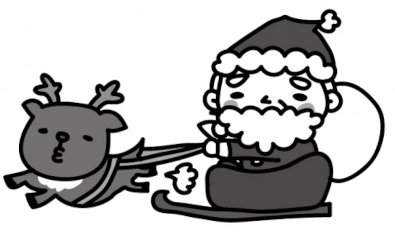【モノクロ】そりでプレゼントを運ぶサンタクロースです。