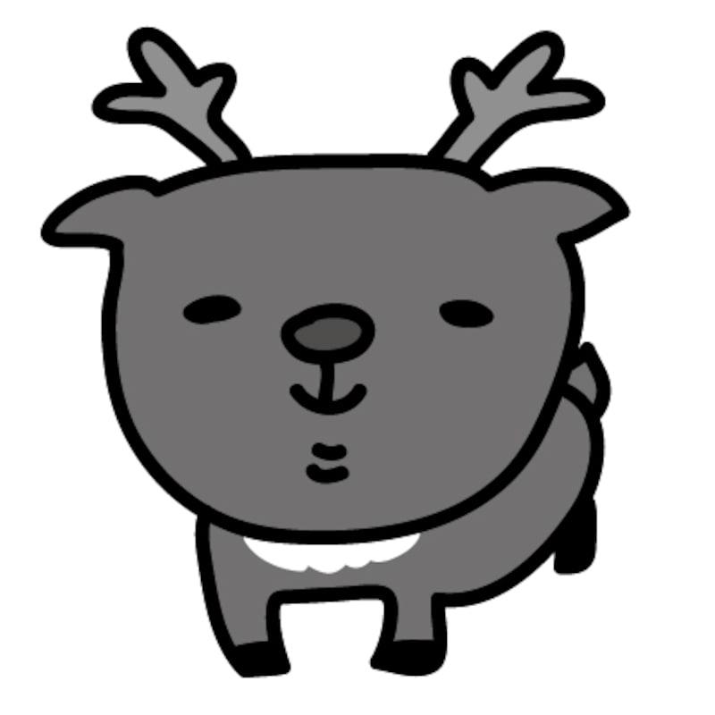 【モノクロ】赤鼻のトナカイです。