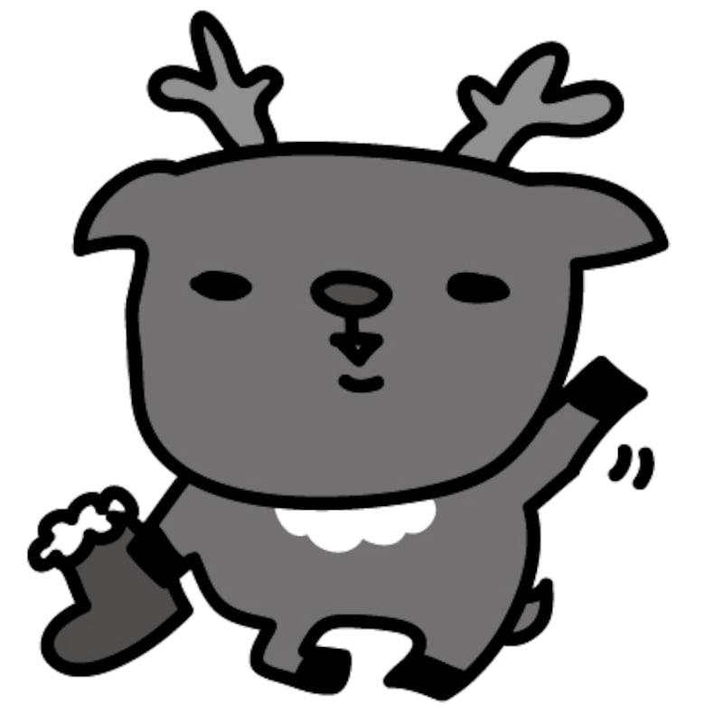【モノクロ】本当はプレゼントが欲しい赤鼻のトナカイです。