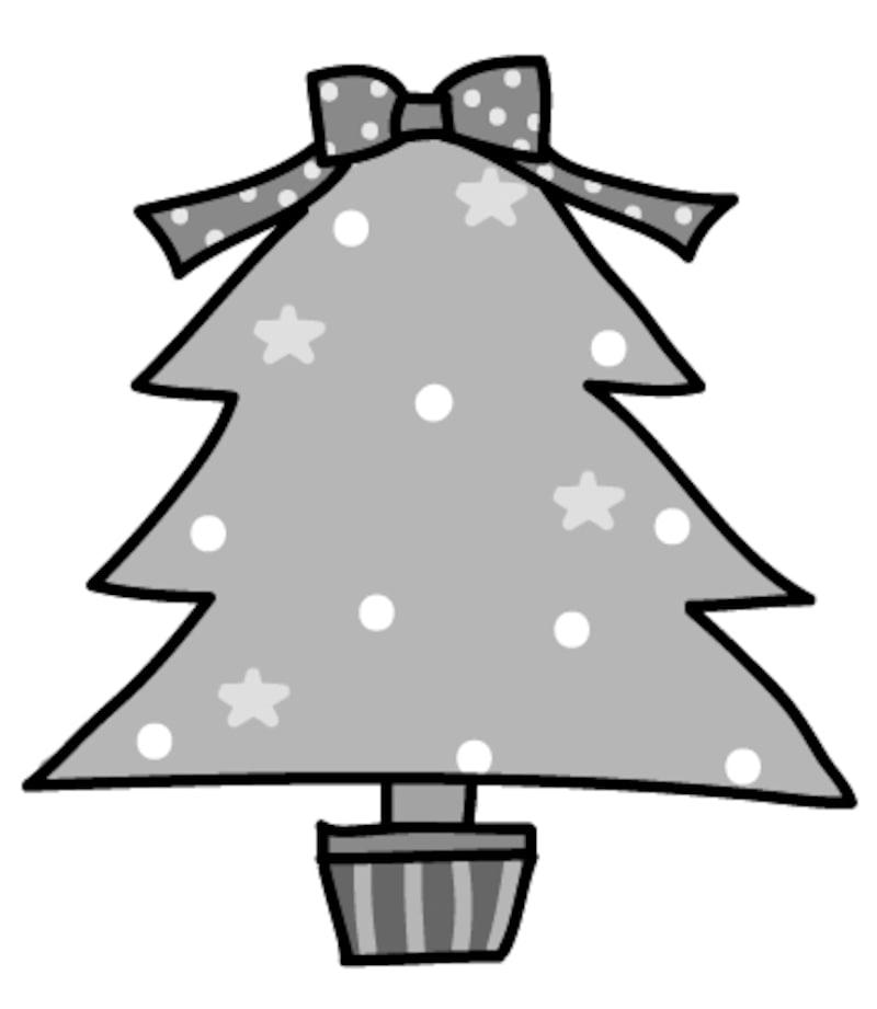 【モノクロ】大きなリボンが可愛いクリスマスツリーです。