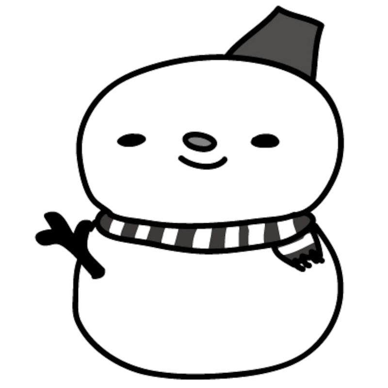 【モノクロ】バケツが可愛い雪だるまです。