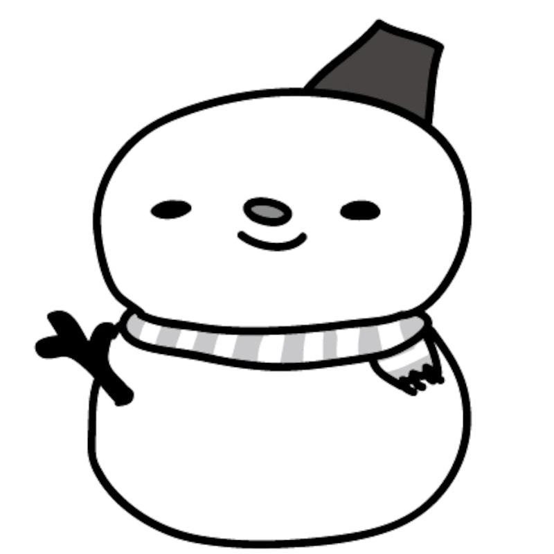 雪だるま クリスマス イラスト 白黒 かわいい