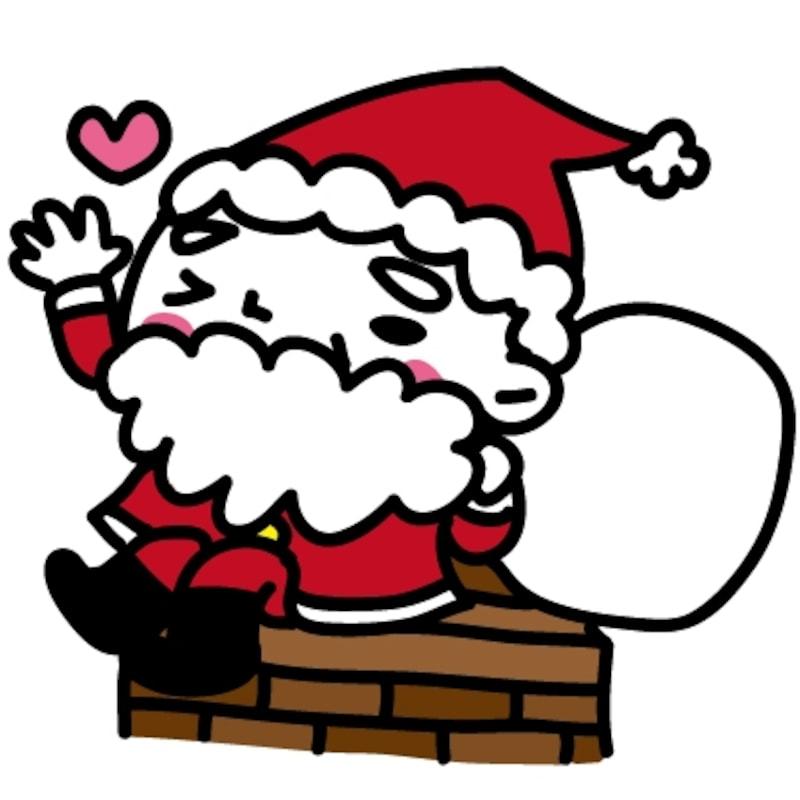 煙突とサンタ クリスマス イラスト カラー かわいい