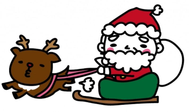 【カラー】そりでプレゼントを運ぶサンタクロースです。