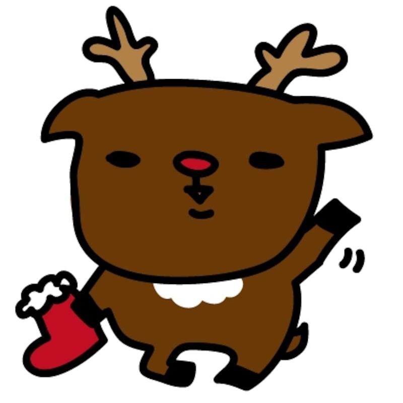 トナカイ クリスマス イラスト カラー かわいい