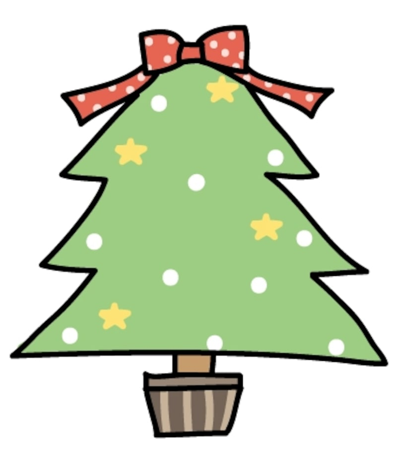 【カラー】大きなリボンが可愛いクリスマスツリーです。