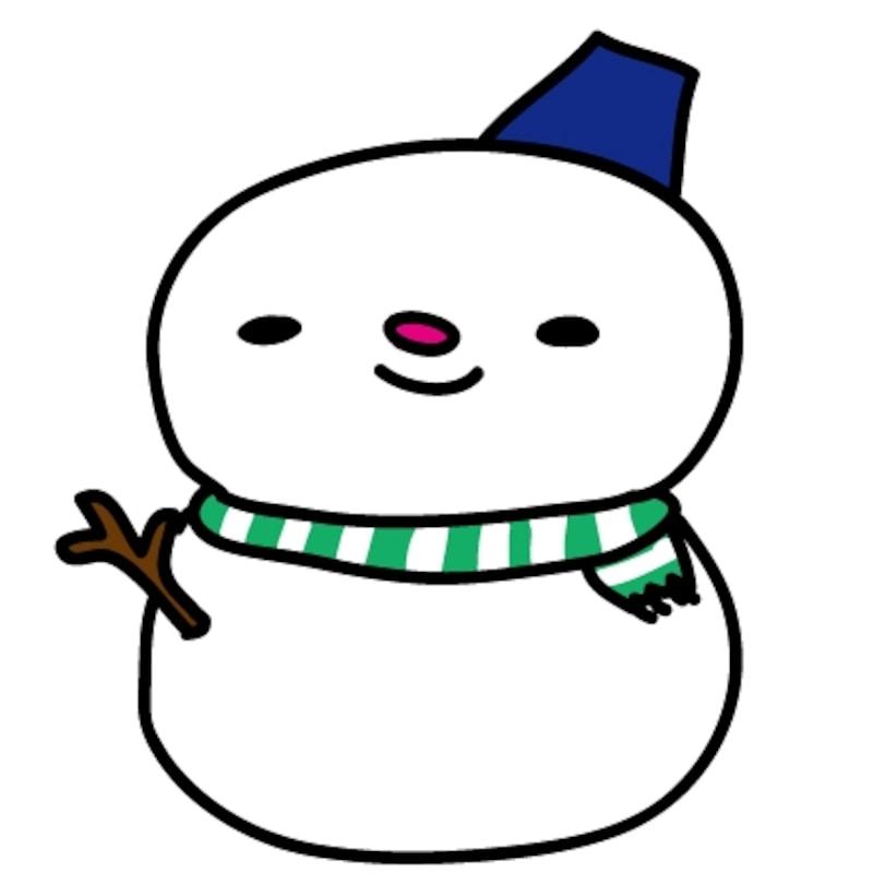 【カラー】青いバケツが可愛い雪だるまです。
