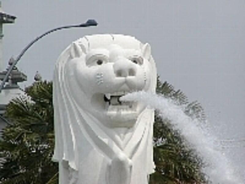 勢い良く水を噴出すマーライオンの姿が見られます。