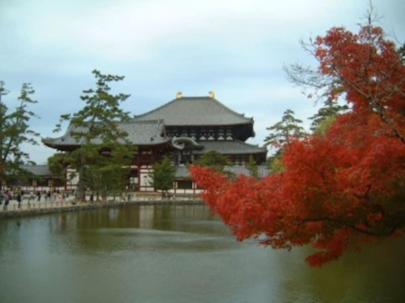 東大寺大仏殿と紅葉