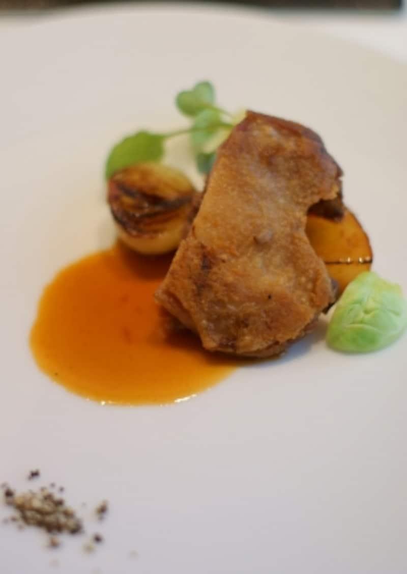 河内鴨もも肉のコンフィと八女の梨