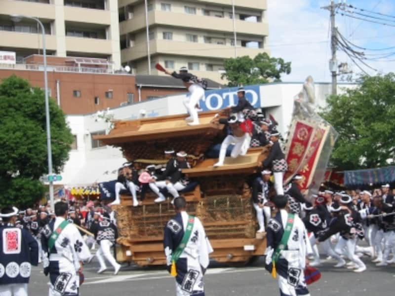 岸和田だんじり祭りやりまわしカンカン場