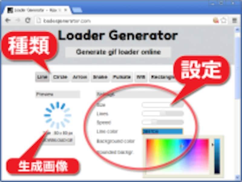 簡単にローディング画像を作れるサービスもある。