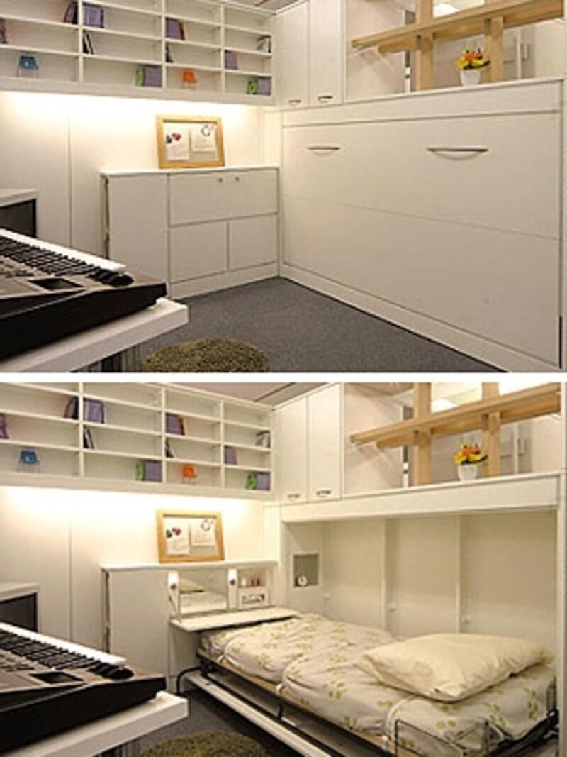 直線を基本に構成された、適度な緊張感のある子ども部屋。ベッドが片付けられるので、生活のメリハリが付けやすい(ip20)