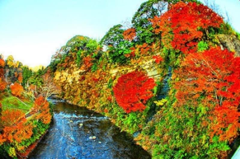 紅葉の養老渓谷懸崖境