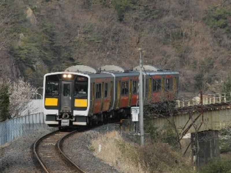 水郡線の列車は何回も久慈川を渡る