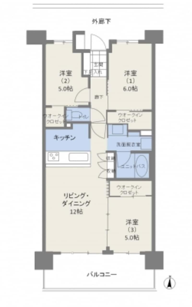 【図1】田の字プランの例。クリックで拡大。