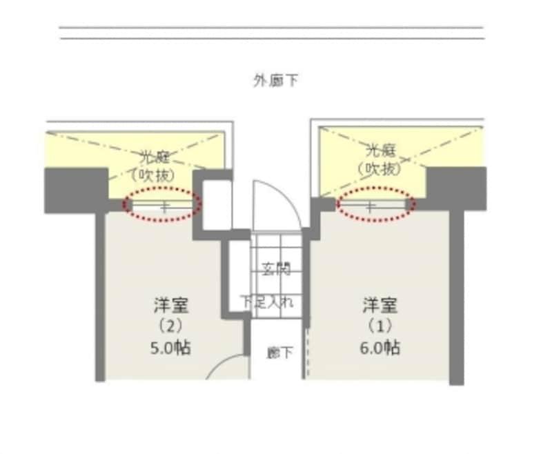 【図4】外廊下側に光庭(吹抜)を設けた間取りならプライバシー性が高くなる。