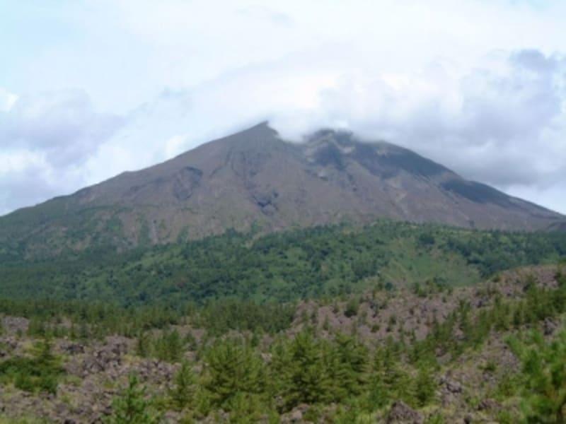 有村溶岩展望所から眺める溶岩台地と桜島