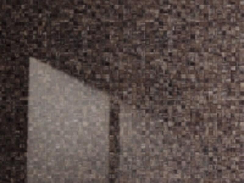 カビの栄養の素「可塑剤」を用いない壁。木目柄や石目柄なども揃う。[オフローラundefined壁パネルundefinedモザイク硝子ブラウン柄]