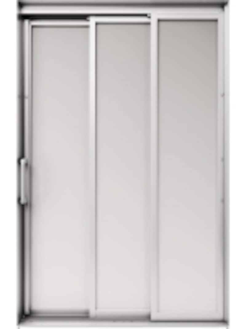広々とした開口部が確保できる3枚引き戸タイプ。undefined[オフローラundefined3枚引き戸(シルバー)]