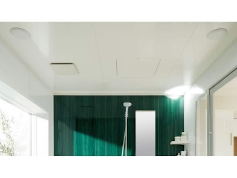 天井に設けた防水スピーカーから、お気に入りの音楽が流れ、ゆったりとくつろぐことができる。[アライズundefinedフルデジタルサウンドシステム]undefinedLIXILhttp://www.lixil.co.jp/
