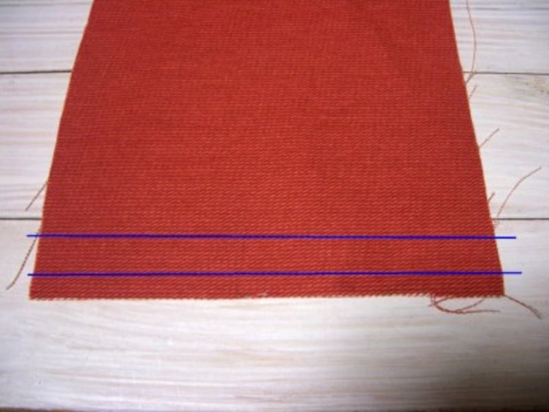 三つ折りの縫い方…2本折り目位置を決める
